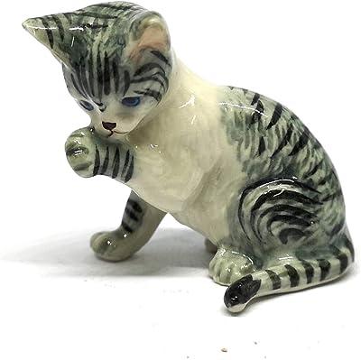 ZOOCRAFT Porcelain Cat Figurine Gray Tiger Hand Paint Ceramic Vintage Collectibles