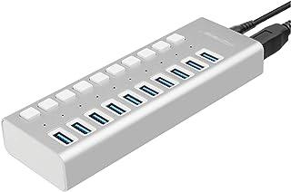 CMDZSW USB 3.0 Hub 10 porte 12V 4A Adattatore di alimentazione USB HUB 3.0 Caricatore con interruttore Multi USB Splitter ...