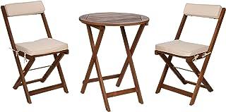 Spetebo Juego de muebles de balcón de madera de acacia con cojines – 2 sillas plegables + mesa plegable – Juego de asientos de madera – Mesa de bistro