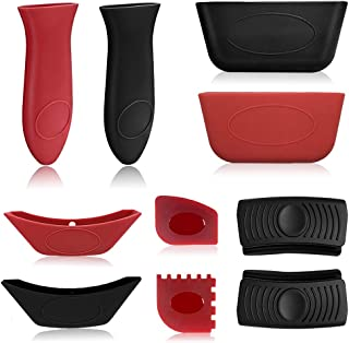 10PCS Silicone Hot Handle Holders Pan Scraper Tool Set, Grill Pan Scraper Cleaner Tool Handle Sleeve for Cast Iron Skillet...