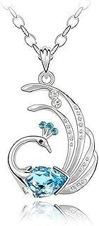 Karatcart Platinum Plated Elegant Austrian Crystal Peacock Pendant for Girls