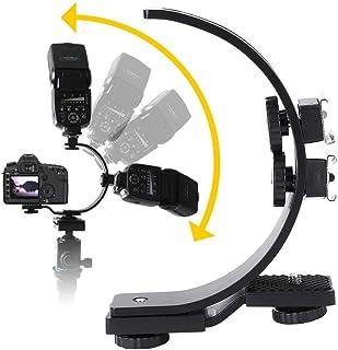 Soporte en Forma de C Doble Zapata para la cámara Flash Soporte de Montaje de la lámpara Accesorio de fotografía Ajustable Duradero de Metal de Primera Calidad para cámara DV Cámara