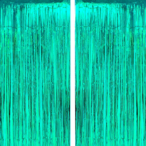 Teal Tinsel Foil Fringe Curtains - Under The Sea Baby Shower Birthday Wedding Summer Beach Pool Party Decor Photo Booth Props Backdrops Decorations, 2pc