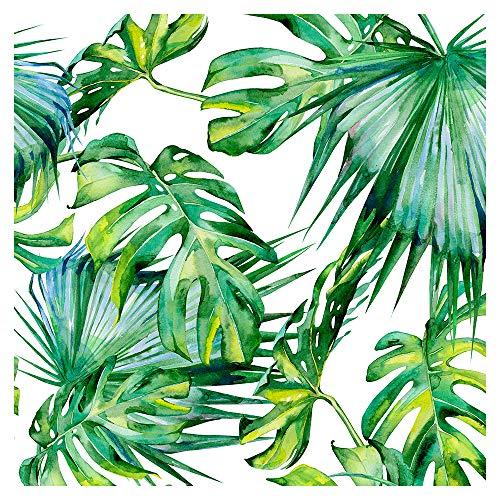 murando Tapete selbstklebend 10m Wandtattoo dekorative Möbelfolie Dekorfolie Fotofolie Panel Wandaufkleber Wandposter Wandsticker - Tropische Blätter Monstera grün weiß b-C-0261-j-a