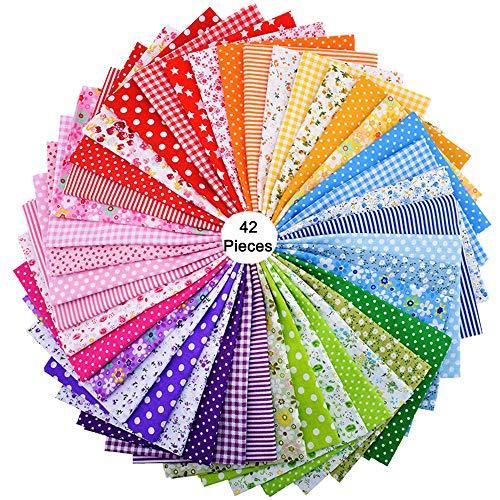 42piezas de 25cm x 25cm de tela de algodón con estampado floral, para costura, manualidades, álbumes de recortes