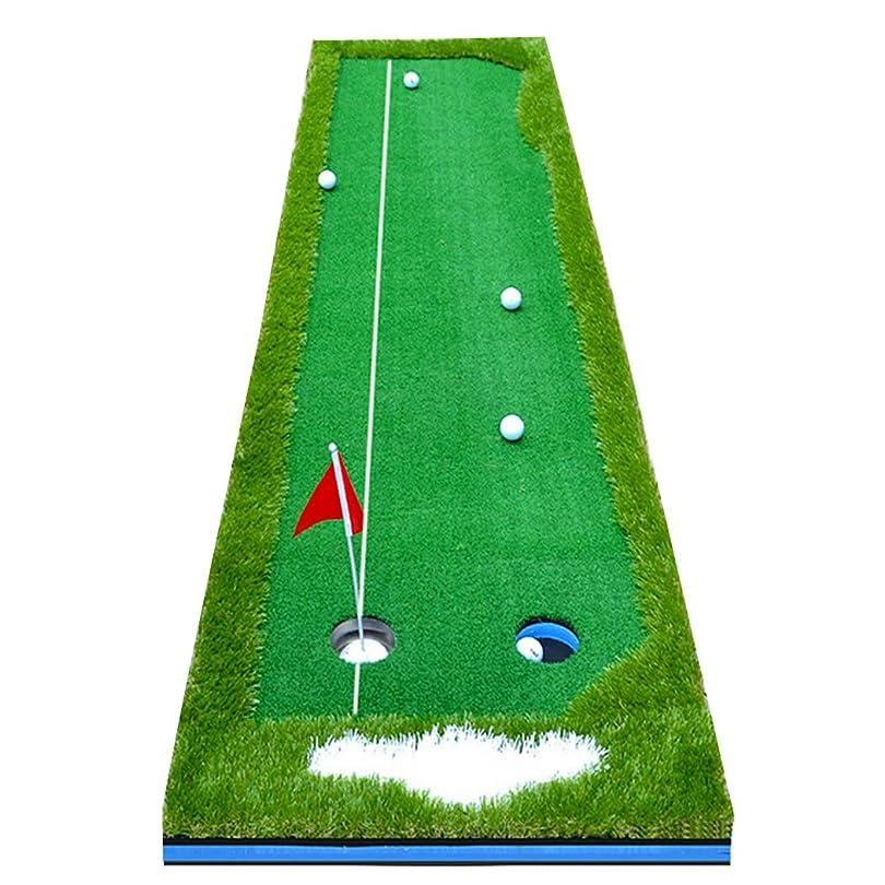 グレー十分に執着Enhong ゴルフ練習用パターマット ゴルフパター パッティング グリーン 誘導ライン有 サイズ300×50cm 300×75cm