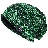 VECRY Men's Slouch Beanie Skull Cap Long Baggy Hip-Hop Winter Summer Hat (Twill-Brilliant Green)