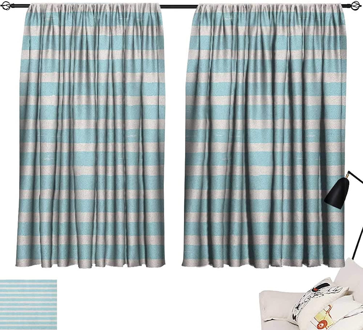 Beihai1Sun Kids Insulating Darkening Curtains Horizontally Striped Pattern with Brushstrokes Grunge and Weathered Look Curtain for Kids Room Pale bluee and Off White W63 x L45