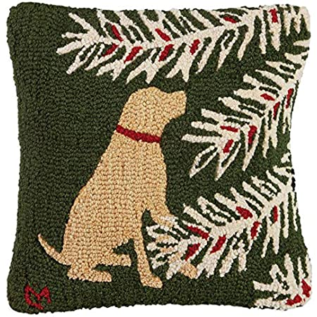 Chandler 4 Corners Artist Designed Holiday Yellow Lab Hand Hooked Wool Decorative Christmas Throw Pillow 18 X 18 Home Kitchen