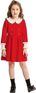 SMILING PINKER Girls Dresses Ruffle Peter Pan Collar Sweater Long Sleeve Knit Pleated Dress