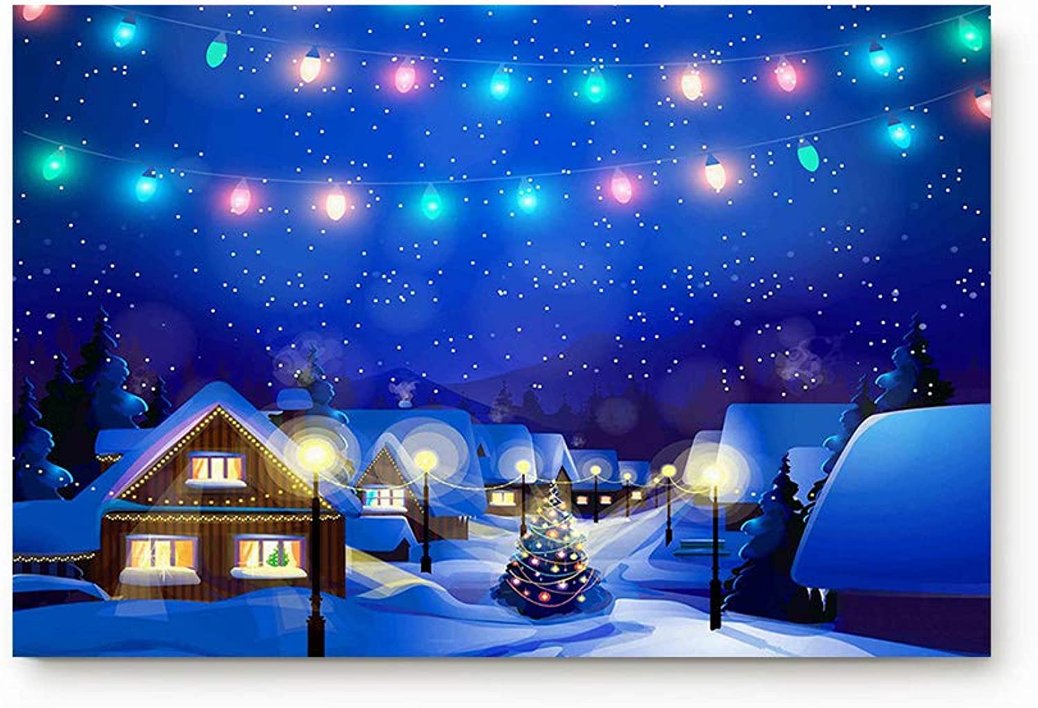 Life808 Office Floor Mats Front Doormats Non-Slip Bedroom Home Kitchen Rug, Christmas Decorate Yard Trees colorful Bulb on Snowy Nature Landscape 20 31.5-Inch