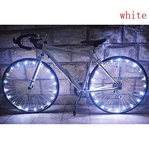 TriLance 1PC Radlichter LED Fahrrad Speichenlicht USB Wiederaufladbare Fahrrad Rad Licht Speichenreflektor 7 Farbe 18 Modi Wasserdicht für intelligentes Induktions, Zum Nachtreiten (Weiß)