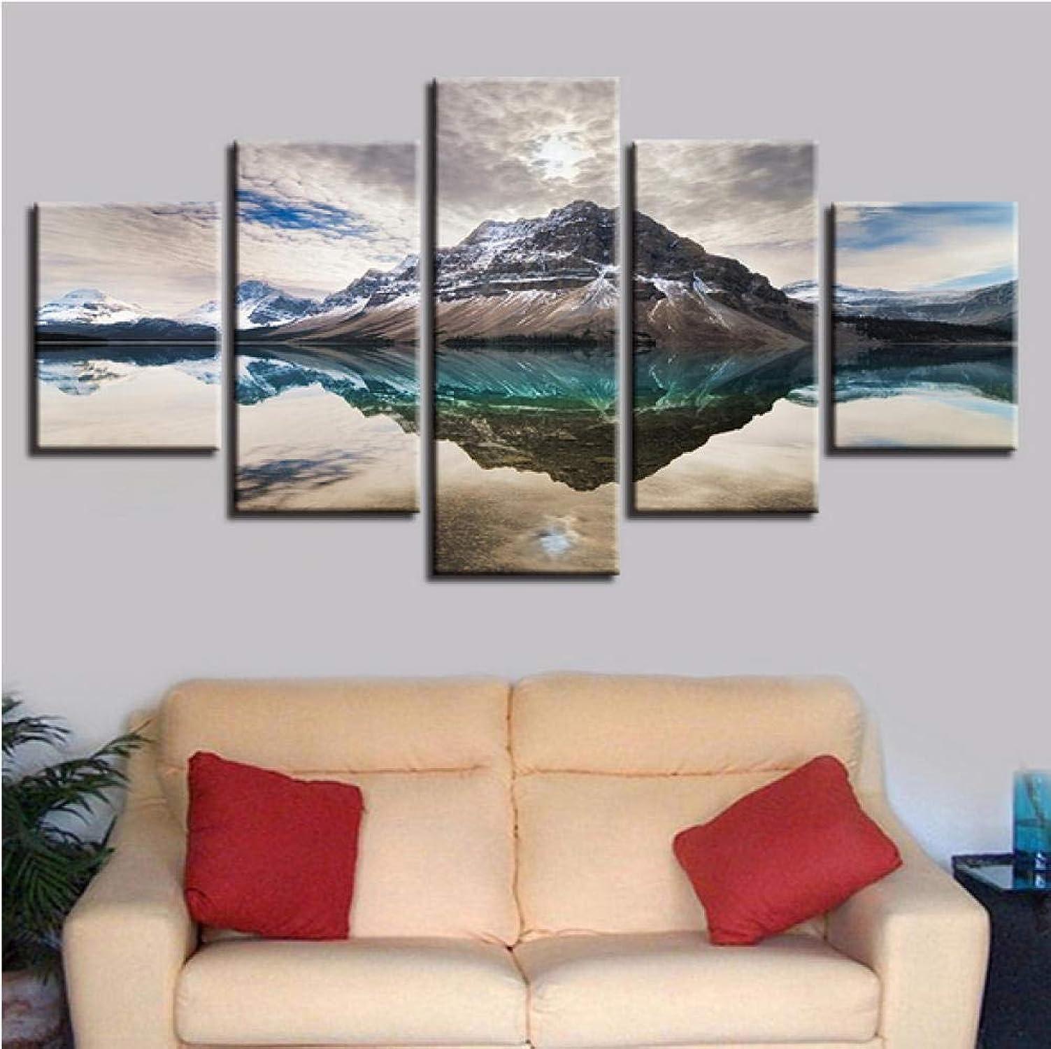 Tengya Impresiones De Carteles De Arte 5 Piezas Mountain Lake HD Fotos Pinturas De Paisajes Naturales-Marco
