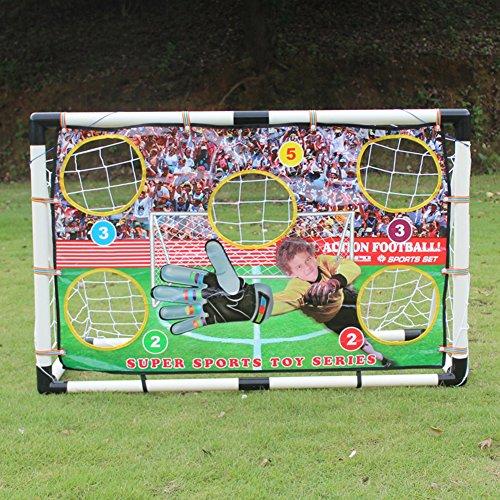 JAYLONG Red plegable portátil de entrenamiento de fútbol para niños o niños Pop Up portería de fútbol para niños patio trasero interior al aire libre puerta de fútbol