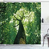 ABAKUHAUS Wald Duschvorhang, Blätter Baum-Zweig, Leicht zu pflegener Stoff mit 12 Haken Wasserdicht Farbfest Bakterie Resistent, 175 x 200 cm, Grün-Braunen