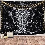 Dremisland Cráneo Tapiz de Pared Meditación Esqueleto Tapices Eclipse de Luna Colgante de Pared Blanco y Negro Cielo estrellado Mandala tapiz para Sala de Estar (L / 148 X 200 cm)