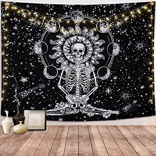 Dremisland Schedel Wandtapijt Meditatie Skelet Tapestries Maan Eclipse Muur Opknoping Zwart en Wit Sterrenhemel…
