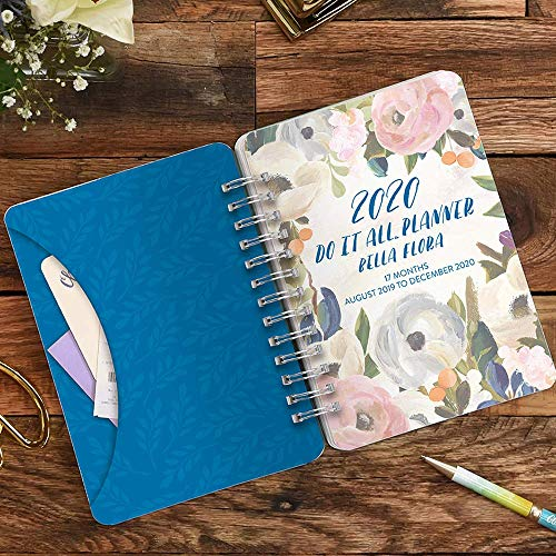 Orange Circle Studio 17 Month Do It All Planner, Aug. 2019 - Dec. 2020, and Comes with Kemah Craft Fineliner 10 Pc Color Pens - Bella Flora