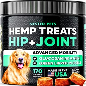 Premium Hemp Treats - Organic Dog Joint Supplement - (170 CT) Glucosamine, Chondroitin, MSM to Improve Mobility & Energy - Green Lipped Mussel, Turmeric, Hemp Oil for Natural Pain Relief - Bacon