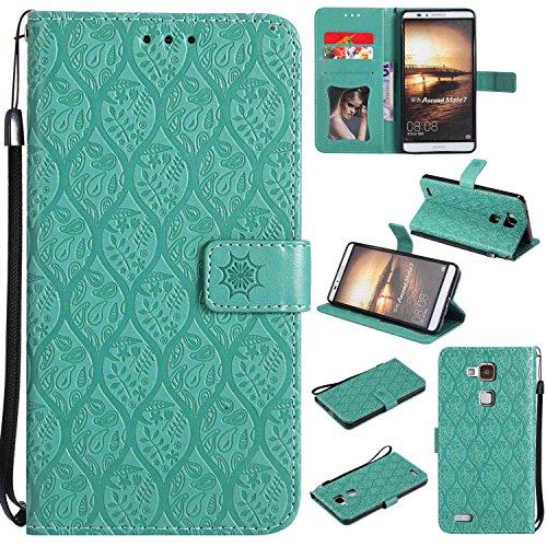 pinlu® PU Leder Tasche Handyhülle Für Huawei Ascend Mate 7 (6zoll) Smartphone Wallet Hülle Mit Standfunktion und Kartenfach Design Rattan Blume Prägung Mint Grün