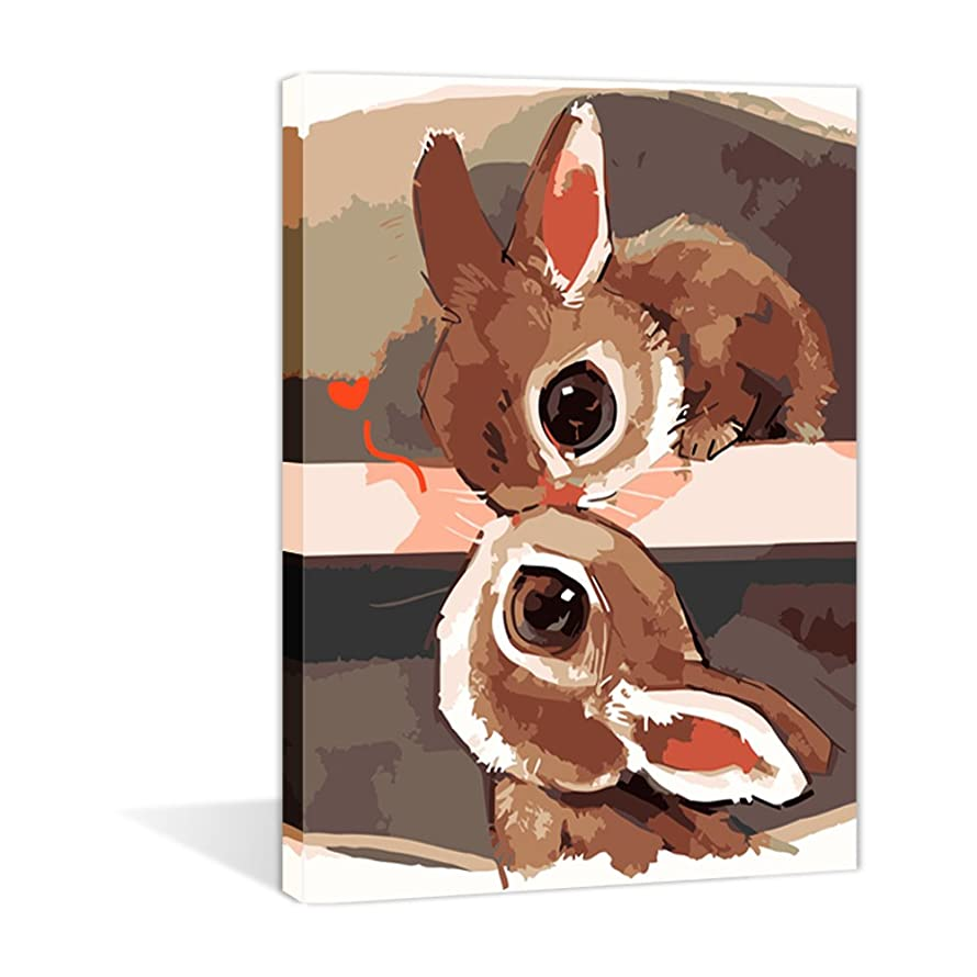 Paint by Numbers 16 x 20 inch Canvas Art Kits DIY Oil Painting for Kids/Students/Adults Beginner Wall Decorative Painting, Two Little Rabbits(Frameless)