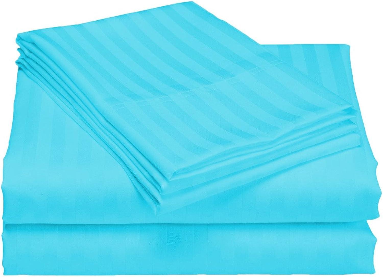 Scala Bedding 100% coton égypcravaten, 6pièces, 800TC de 25pouces de profondeur feuilles de Kit Complet XXL étui turquoise à bandes