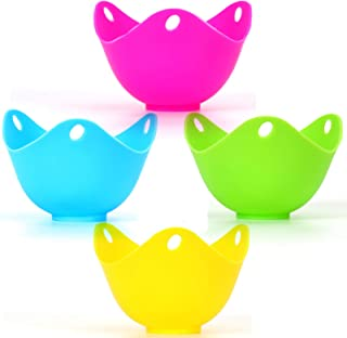 Egg Poacher Cooker Silicone Egg Poaching Cup Multi-Purpose Poached Egg Maker for Microwave Stovetop Kitchen Tools Pack of 4