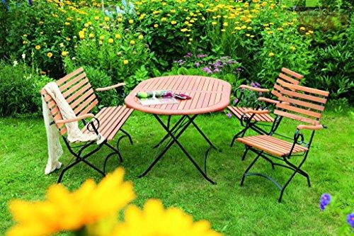 MERXX 4tlg. Schlossgarten Set, 2 Klappsessel, 1 Klappbank, 1 Klapptisch, oval, 140 x 90 cm