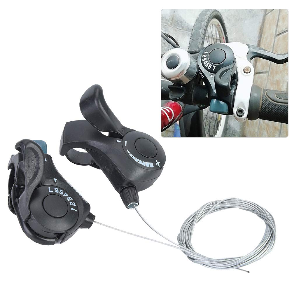 Dibiao 1 Pair TX30 Thumb Gear Shifter,Outdoor Mountain Bicycle TX-30 Thumb Gear Shifters 3X7 Speed Shift Lever and Set