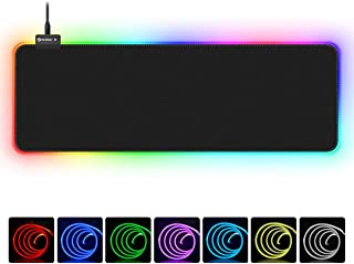 RGB Gaming Mouse Pad, UtechSmart Large Extended Soft Led Mouse Pad with 14 Lighting Modes 2 Brightness Levels, Computer Keyboard Mousepads Mat 800 x 300mm / 31.5×11.8 inches (Renewed)
