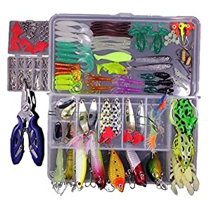 TopConcept Fishing Lures Kit Set for Bass Trout SalmonTopwater Lures with Free Tackle Box Included Spinnerbaits, Plastic Worms, Jigs, Topwater Lures, Tackle Box and More Fishing Gear Lures Kit Set