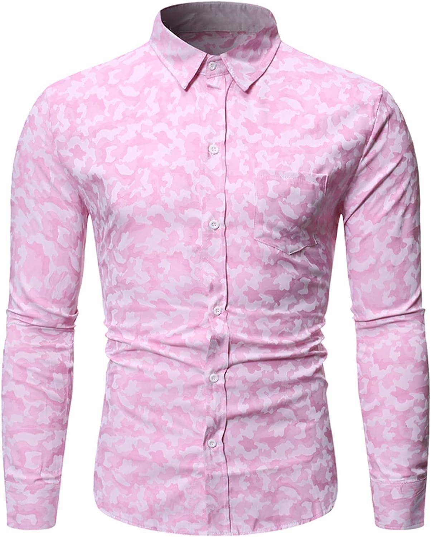 Mens Dress Shirts Casual Fashion Floral Print Shirt Slim Lapel Long Sleeve Button Down Shirt