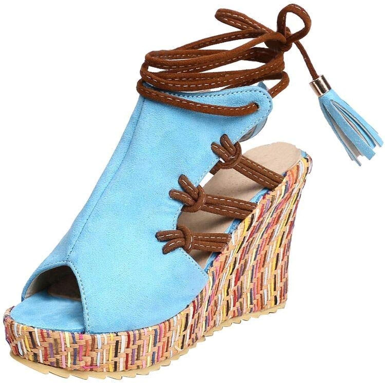 Zitan Womens Platform Wedge Heel Peep Toe Ankle Strap Slingback Suede Sandals