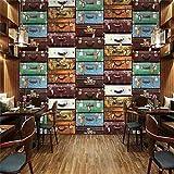 PSiFound 3D Pegatinas De Pared Fondo De Pantalla Vintage Color Viaje Maleta De Cuero (250X175Cm) Dormitorio De Niños Diy Decoración De La Habitación Para Chico Niña Bebé Casa Mural De La Pared Interi