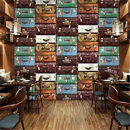 JIYOTTF Papel tapiz 3D foto mural de la pared decoración del dormitorio del hogarVintage Colorido Viaje Maleta(W 400 x H 280cm) Fondo de pantalla HD Decoración de la pared Impermeable Fácil de operar