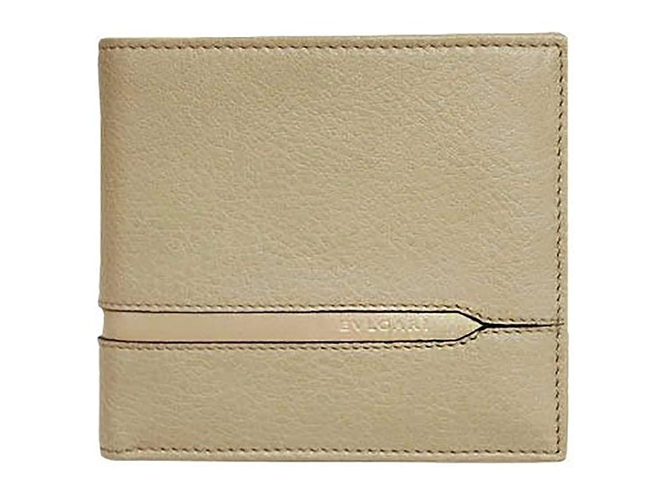 横に波に関してブルガリ 財布 37161 BVLGARI メンズ 二折り小銭付き財布 BVLGARIロゴ カーフ ベージュ [並行輸入品]