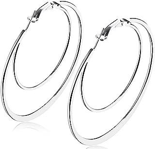 Stainless Steel Individual Simple Large Hoop Earrings Dangle Jewelry
