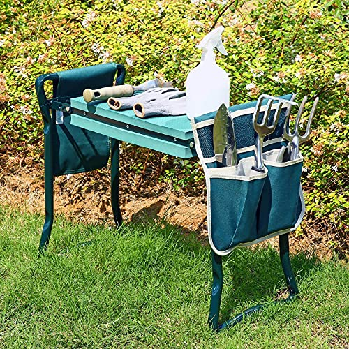 Ohuhu Garden Kneeler Bench Seat with Two Pouches