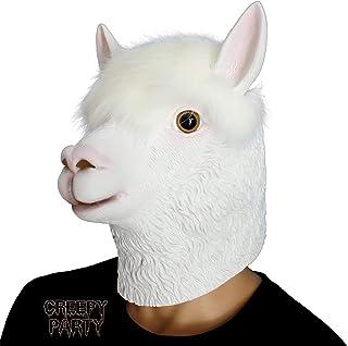 CreepyParty Novelty Halloween Costume Party Latex Animal Head Mask Alpaca White