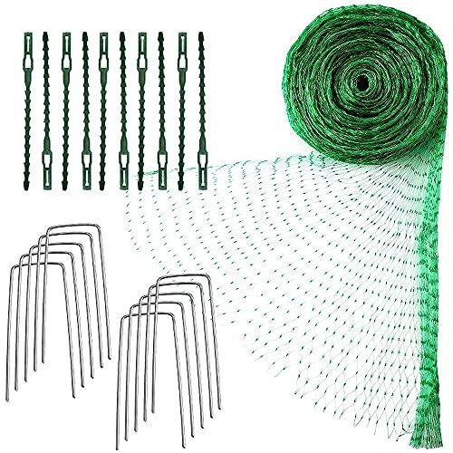 YeenGreen Gartennetz Vogelschutz, 4 x 10 M Grünes Anti Vogel Schutz Netz, Vogelschutznetz Engmaschig Stabil mit Kabelbindern und U-Förmigen Stiften für Teichnetz, Pflanzennetz, Gemüseennetz