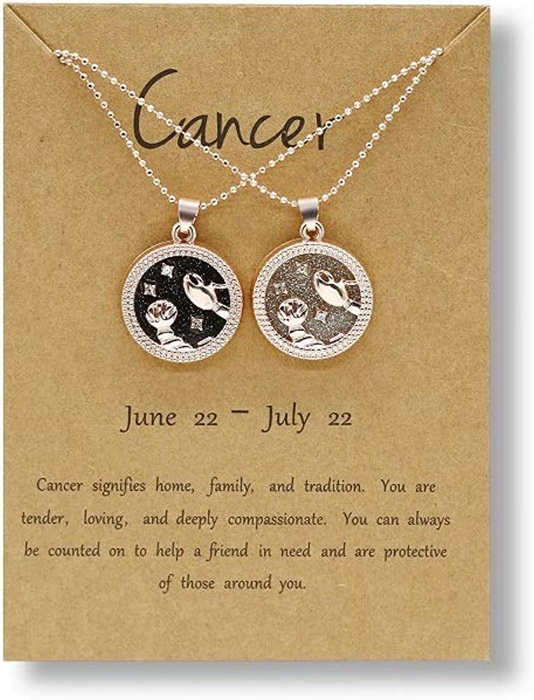 COLORFUL BLING 2 Pcs Zodiac Coin Necklace 12 Constellation Bright Day and Black Night 14K Gold Plated Round Pendant Astrology Horoscope Necklace Gift for Women Girls