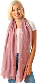 Lightweight Evening Wrap Scarf -Floral & Feather Scarves, Rose Gold Silver Foil Ladies Scarfs Pashmina Shawls Bridal Weddi...