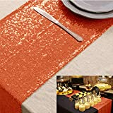 Sequin Table Runner Bridal Shower Decorations Table Cover Table Runners 14x108 Inches ~0225S (1, Orange)