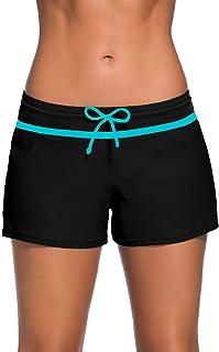 Shorts de Baño Mujer Bañador Short Deportes Acuáticos Shorts de Natación Secado Rápido Bañador de Pantalon Cortos con cordón Ajustables Size S - 3XL