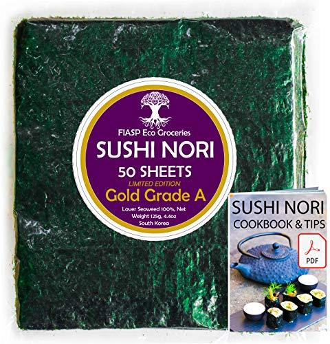 Feuilles dalgues nori pour Sushi - Paquet de 50 [Cuit Fin Mai 2021], qualité supérieure (or), directement de la ferme familiale en Corée du Sud (Saveur Douce)