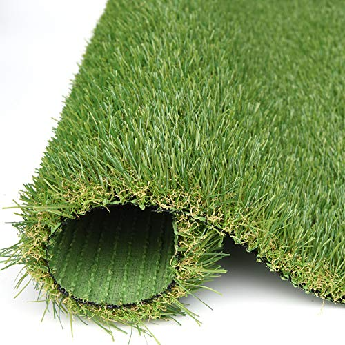 RoundLove Artificial Grass Turf, 4 Tone Synthetic Grass Patch Mat w/Drainage Holes, Lush & Hard Pet Turf Astroturf Rug, Fake Turf for Indoor & Outdoor Decor