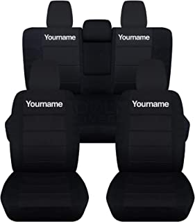Totally Covers compatible with 2018-2020 Jeep Wrangler JL Black Seat Covers w Your Name/Text: Black w White - Full Set: Fr...