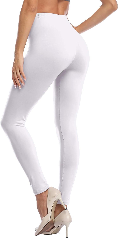 LIGHTBACK Ultra Soft Leggings for Women High Waisted Lounge Pants Basic Leggings Solid Color