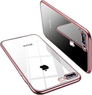 TORRAS Crystal Clear iPhone 8 Plus Case/iPhone 7 Plus Case, [Anti-Yellow] Soft Silicone TPU Cover Slim Thin Gel Phone Case for iPhone 7 Plus/8 Plus, Rose Gold