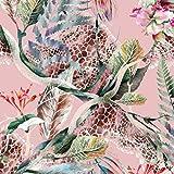 Viskose Jersey Stoff Meterware Tropische Federn (rosa)
